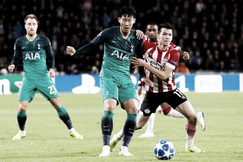 Com final eletrizante, PSV e Tottenham empatam na Holanda e veem classificação complicar na UCL