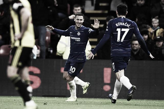 Hazard ultrapassa os 100 gols com a camisa do Chelsea e ajuda Blues a vencer Watford fora de casa