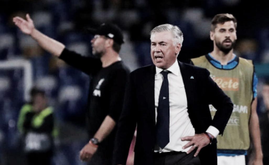 """Carlo Ancelotti exalta Napoli após vitória sobre o Liverpool: """"Sucesso é merecido"""""""