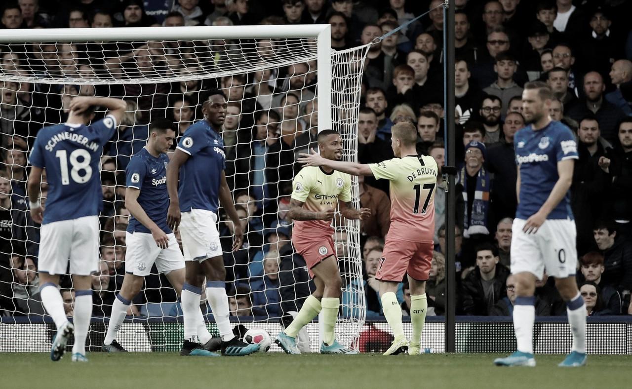 Contando com gol de Gabriel Jesus, Manchester City vence Everton fora de casa