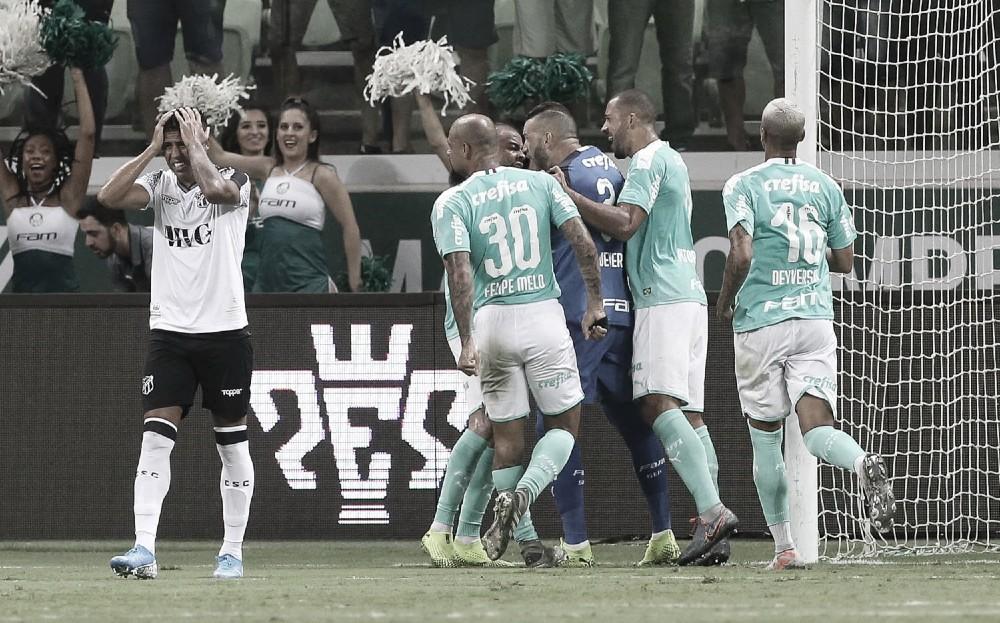 Em noite inspirada de Weverton, Palmeiras derrota Ceará e segue na caça ao líder