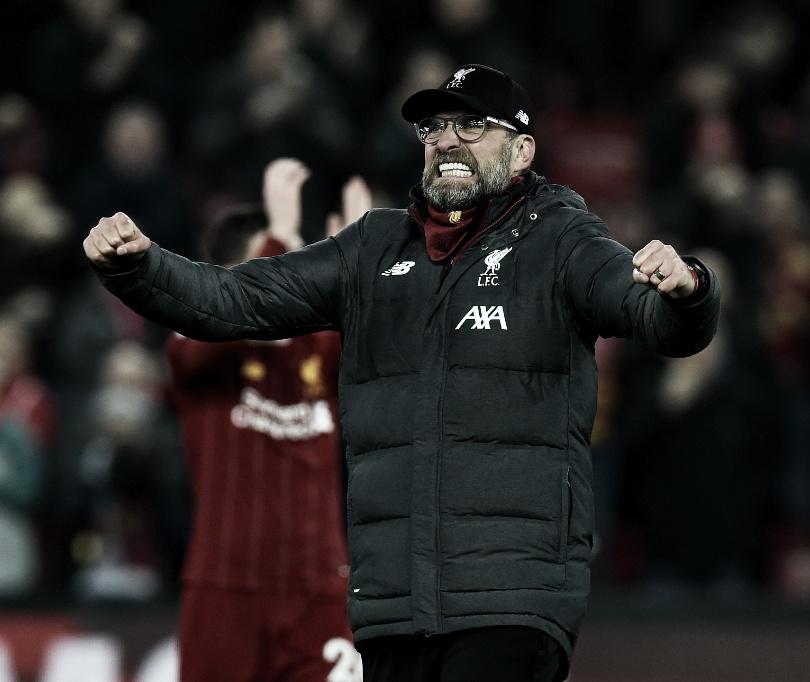 Com 150 vitórias pelo Liverpool, Jürgen Klopp cita alívio ao vencer clássico sobre Manchester United