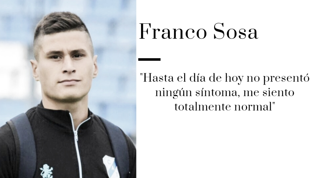 """Entrevista. Franco Sosa: """"Fue el primer hisopado y ahora estoy cumpliendo el aislamiento"""""""