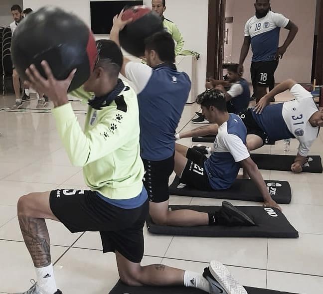 El plantel entrenó en el hotel pensando en Belgrano. Foto: Prensa Godoy Cruz.