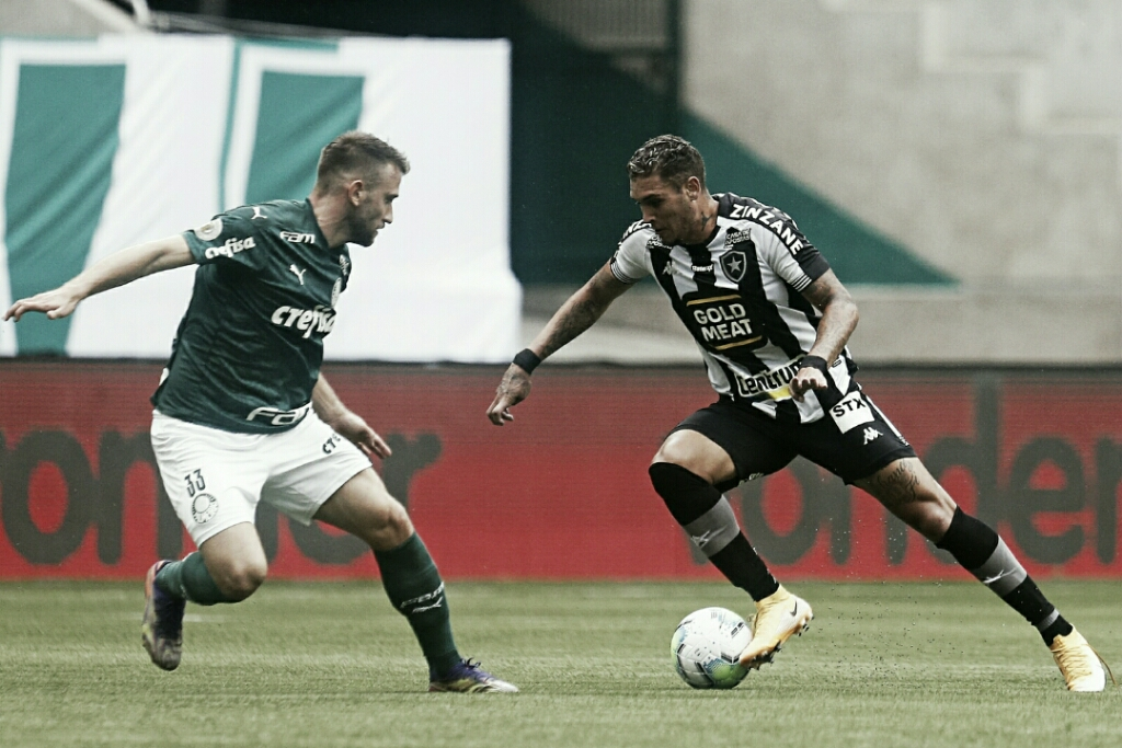 De ressaca e com reservas, Palmeiras sai na frente, mas vê Botafogo buscar empate