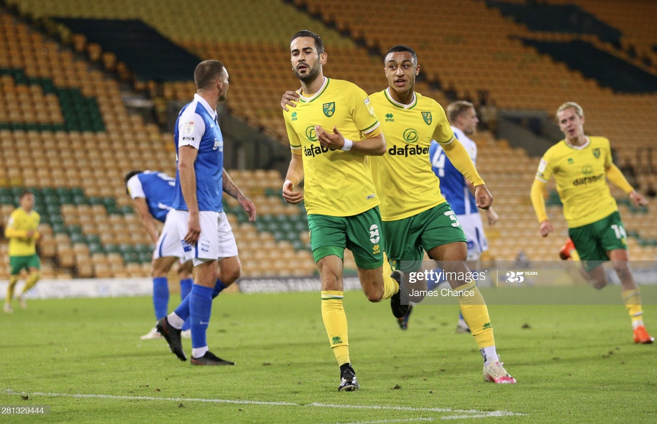 NORWICH, ENGLAND - OCTOBER 20: Mario Vrancic of Norwich City celebrates with Adam Idah after scoring his team's first goal during the Sky Bet Championship match between Norwich City and Birmingham City at Carrow Road on October 20, 2020 in Norwich, England. (Photo by James Chance/Getty Images)
