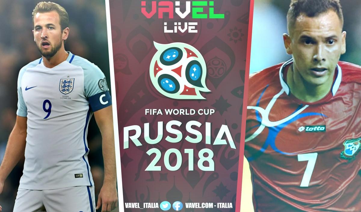 Inghilterra-Panama in diretta, Mondiale Russia 2018 LIVE (6-1): GOLEADA INGLESE, BALOY PER LA GLORIA