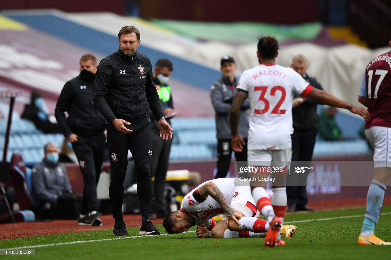 Danny Ings is now out of action for an estimated 4-6 weeks. Ralph Hasenhuttl and Theo Walcott look on.(Photo by Gareth Copley/Getty Images)