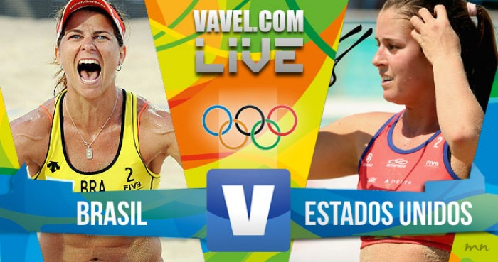 Partida Brasil x Estados Unidos no vôlei de praia feminino dos Jogos Olímpicos (2-0)