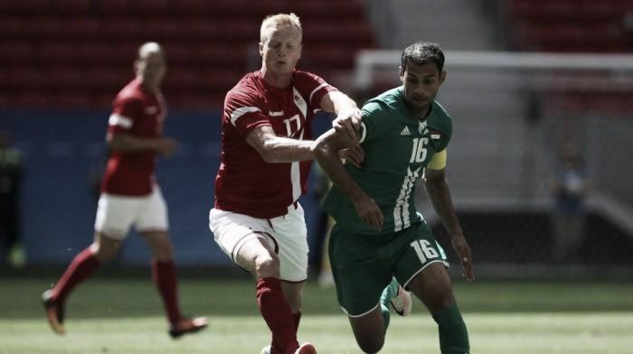 Iraque surpreende e empata com Dinamarca na abertura do futebol masculino