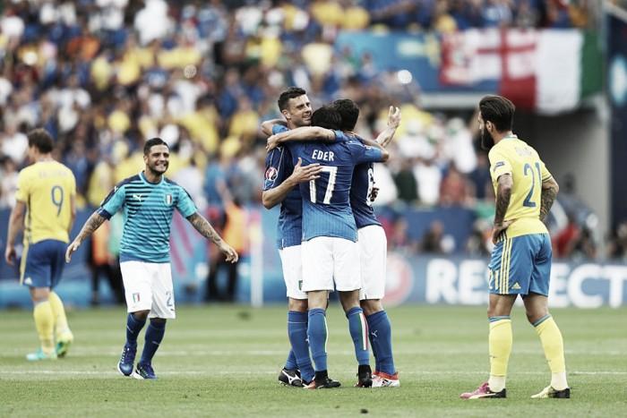 Itália vence Suécia com gol do ítalo-brasileiro Éder e avança às oitavas da Eurocopa