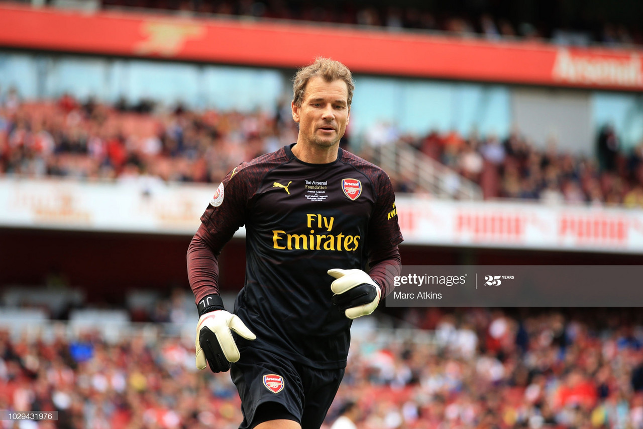 Arsenal Legends v Real Madrid Legends<br>LONDON, ENGLAND - SEPTEMBER 08: Arsenal goalkeeper Jens Lehmann during the match between Arsenal Legends and Real Madrid Legends at Emirates Stadium on September 8, 2018 in London, United Kingdom. (Photo by Marc Atkins/Getty Images)