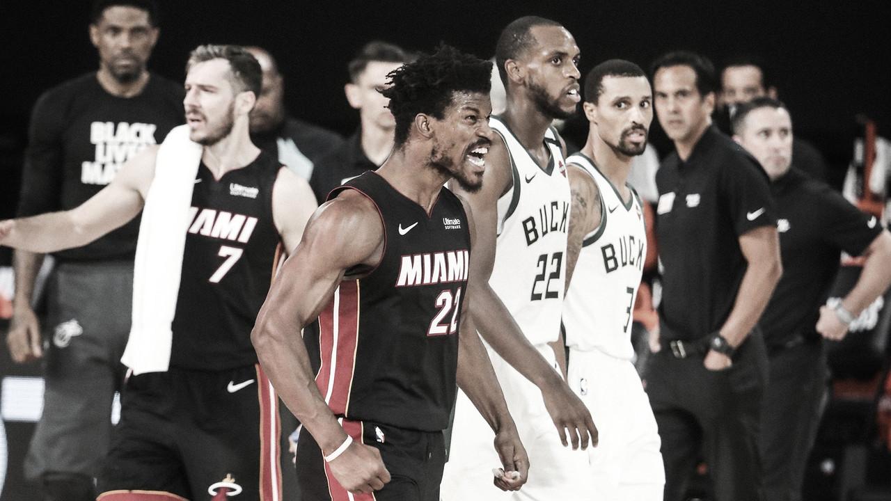 Butler cresce no último quarto, Heat vence Bucks e está a um jogo da final da Conferência