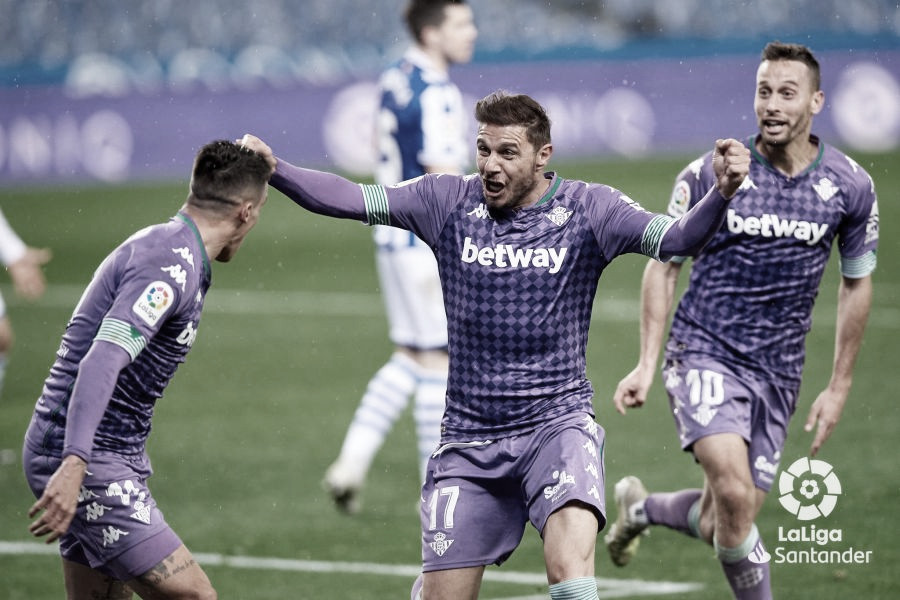 Joaquín celebra su gol del empate en el Real Sociedad- Betis.Foto:LaLiga Santander.