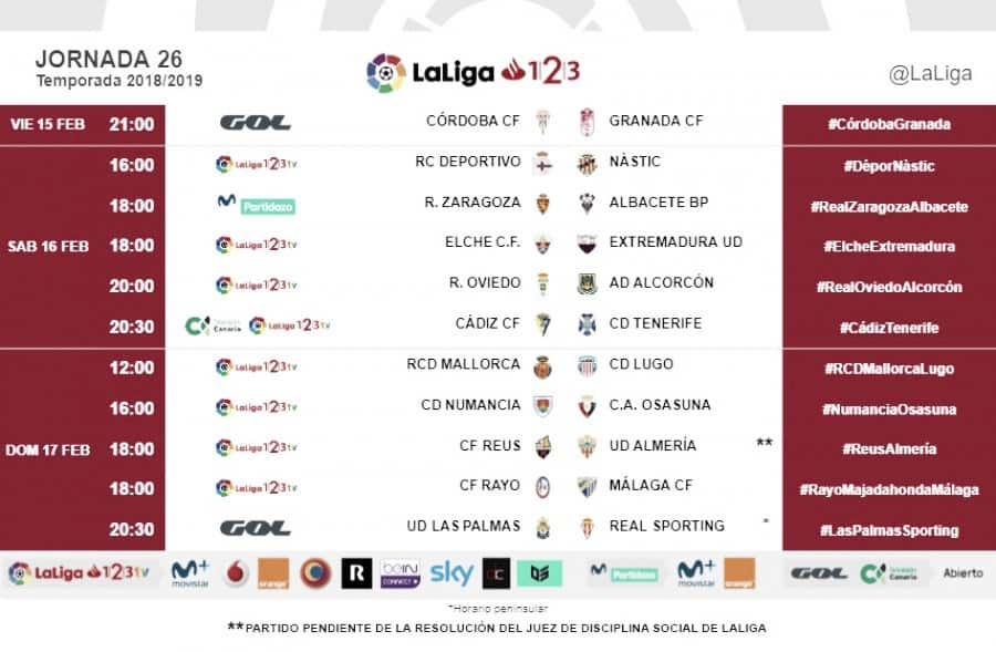 Horarios jornada 26: Rayo Majadahonda-Málaga, 18:00 horas