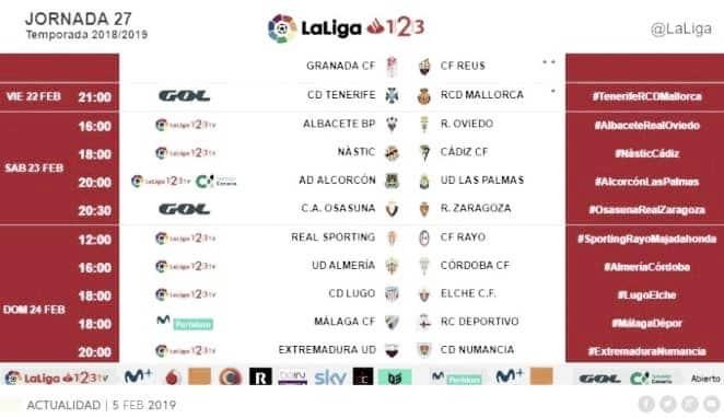 Horarios jornada 27: Sporting de Gijón-Rayo Majadahonda, 12:00 horas