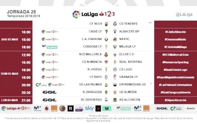 Horarios jornada 28: Rayo Majadahonda-Granada, 18:00 horas