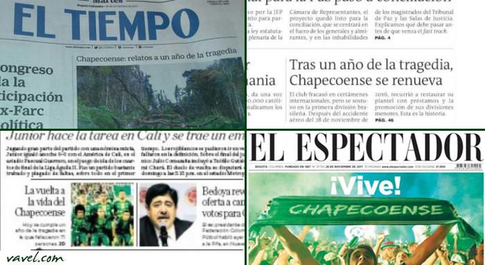 Jornais colombianos destacam 'volta à vida' da Chapecoense na data de um ano do acidente