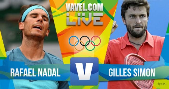 Rafael Nadal vence Gilles Simon no tênis masculino dos Jogos Olímpicos (2-0)