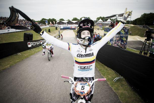 Mariana Pajón afuera del podio en la primera etapa de la Copa Mundo UCI BMX