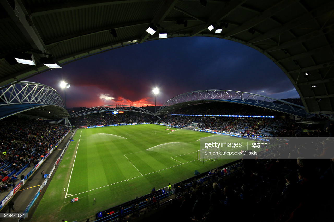 The John Smith's Stadium under the lights makes for a spectacular viewing / Photo by Simon Stacpoole/Offside/Getty Images