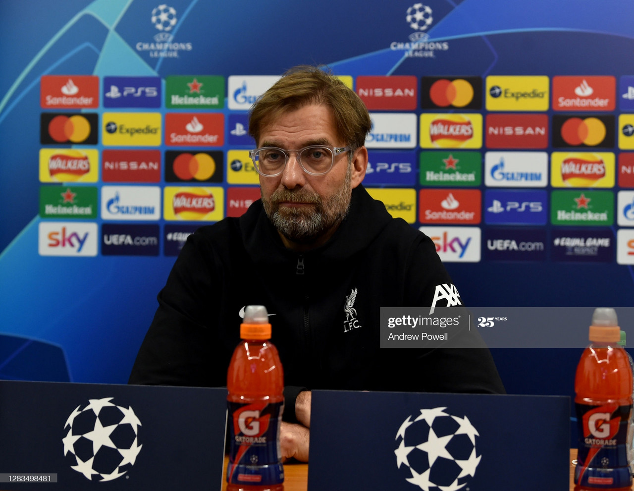 LIVERPOOL, ENGLAND - NOVEMBER 02: (THE SUN OUT, THE SUN ON SUNDAY OUT) Jurgen Klopp manager of Liverpool during a press conference ahead of the UEFA Champions League Group D stage match between Liverpool FC and Atalanta BC at Melwood Training Ground on November 02, 2020 in Liverpool, England. (Photo by Andrew Powell/Liverpool FC via Getty Images)