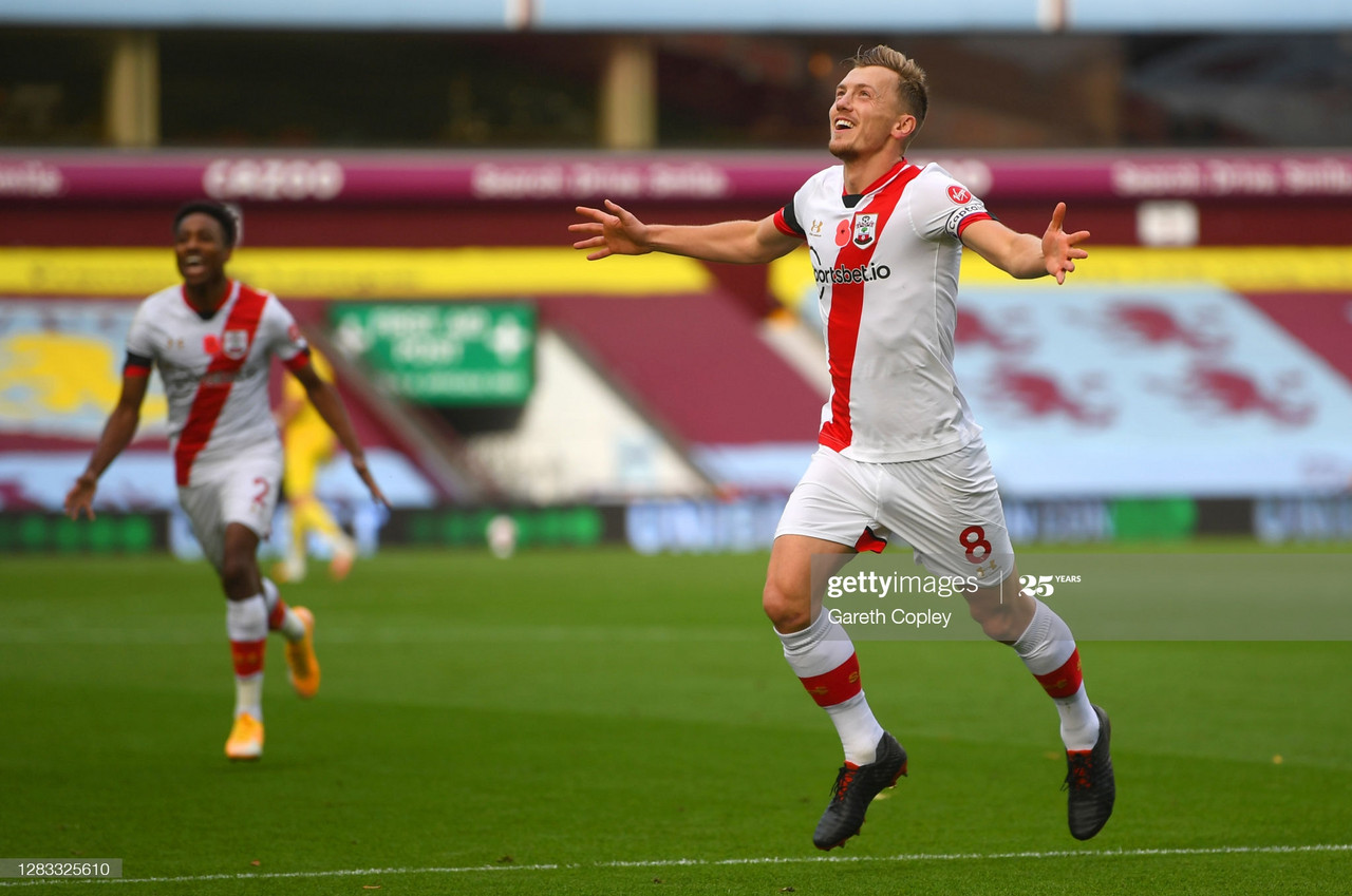 BIRMINGHAM, ENGLAND - NOVEMBER 01: James Ward-Prowse of Southampton celebrates after scoring his team's second goal during the Premier League match between Aston Villa and Southampton at Villa Park on November 01, 2020 in Birmingham, England. Sporting stadiums around the UK remain under strict restrictions due to the Coronavirus Pandemic as Government social distancing laws prohibit fans inside venues resulting in games being played behind closed doors. (Photo by Gareth Copley/Getty Images)