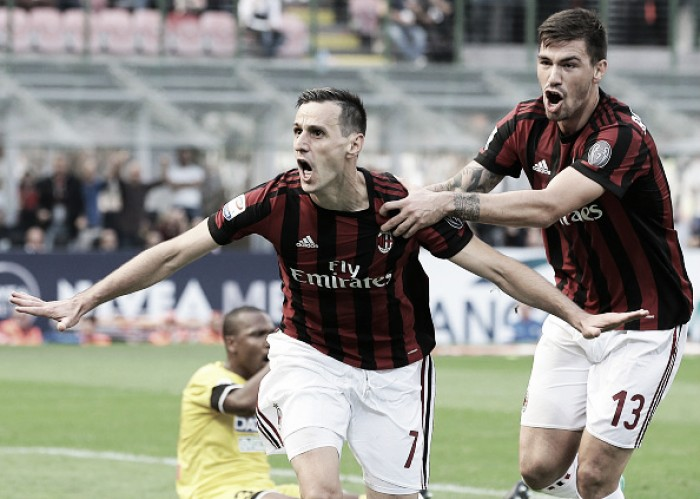 Kalinic marca dois, Milan bate Udinese e serecupera na Serie A