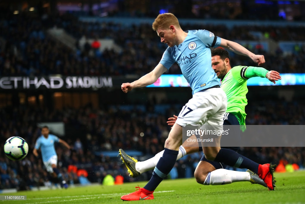 Manchester City 2-0 Cardiff City: First-half goals from de Bruyne and Sane see City go top