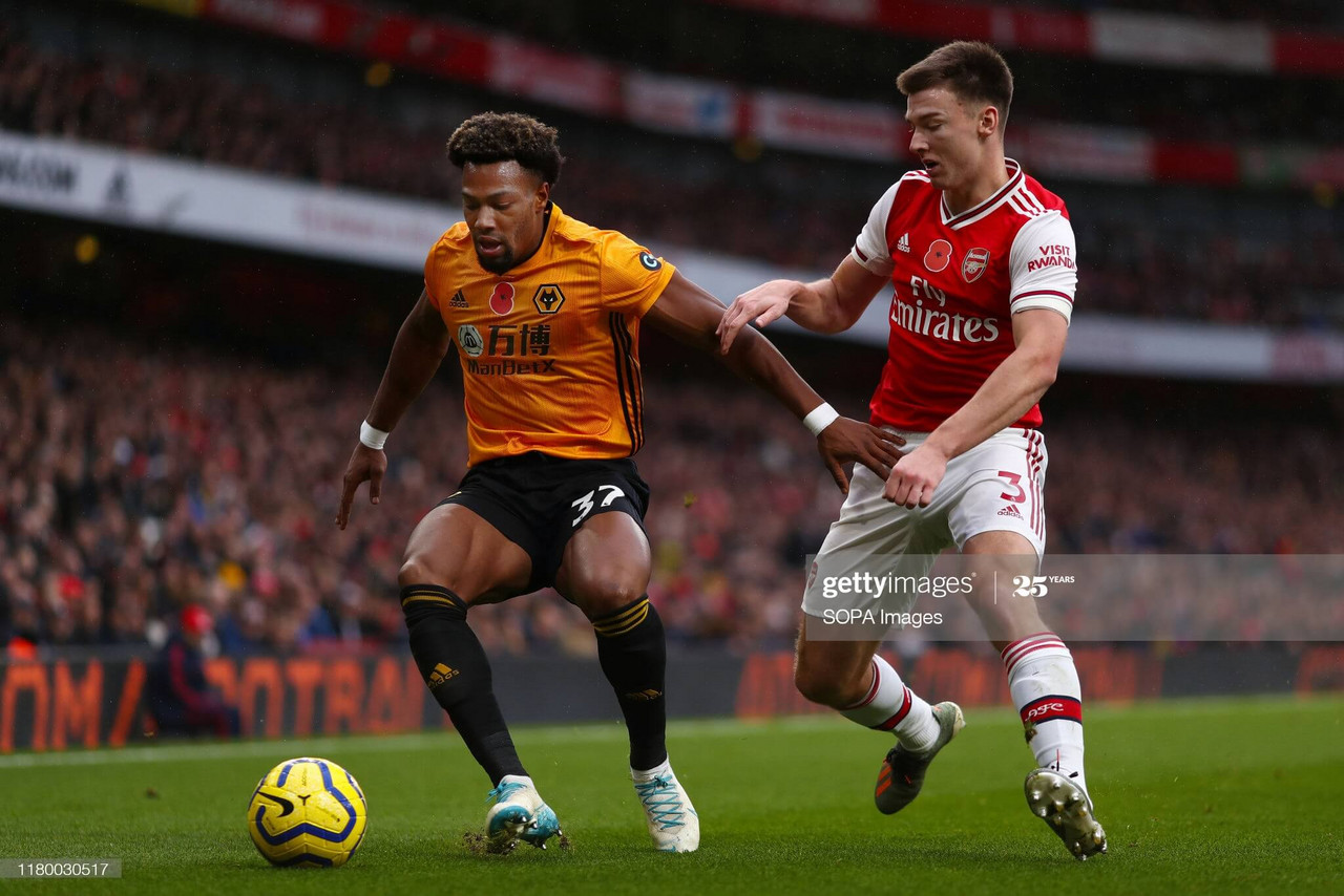 Adama Traore shields the ball from Kieran Tierney in Wolves' last visit to the Emirates in November 2019. (Photo by Richard Calver/SOPA Images/LightRocket via Getty Images)