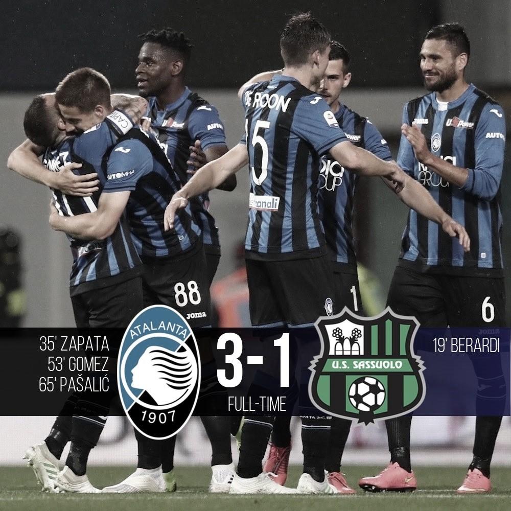 Atalanta venció a Sassuolo y se mete en la Champions League