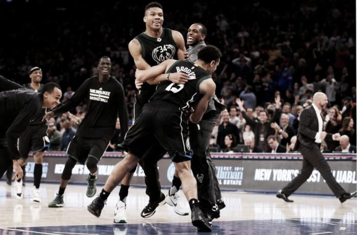 Giannis Antetokounmpo drains game winning shot to lead Milwaukee Bucks past New York Knicks