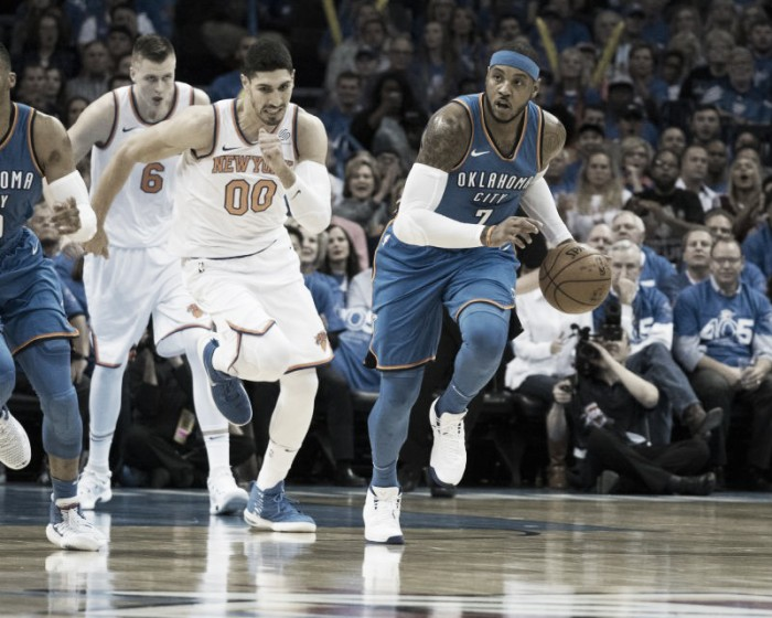 Oklahoma City Thunder win season opener against New York Knicks with Help of OKC's big three