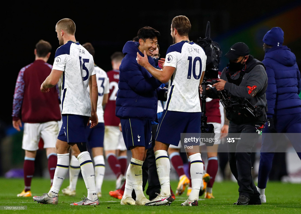 BURNLEY, ENGLAND - OCTOBER 26: Harry Kane and Son Heung-Min of Tottenham Hotspur celebrate after the Premier League match between Burnley and Tottenham Hotspur at Turf Moor on October 26, 2020 in Burnley, England. Sporting stadiums around the UK remain under strict restrictions due to the Coronavirus Pandemic as Government social distancing laws prohibit fans inside venues resulting in games being played behind closed doors. (Photo by Jason Cairnduff - Pool/Getty Images)
