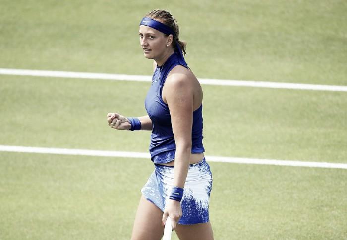 WTA Birmingham: Petra Kvitova displays vintage tennis to win her first match on grass