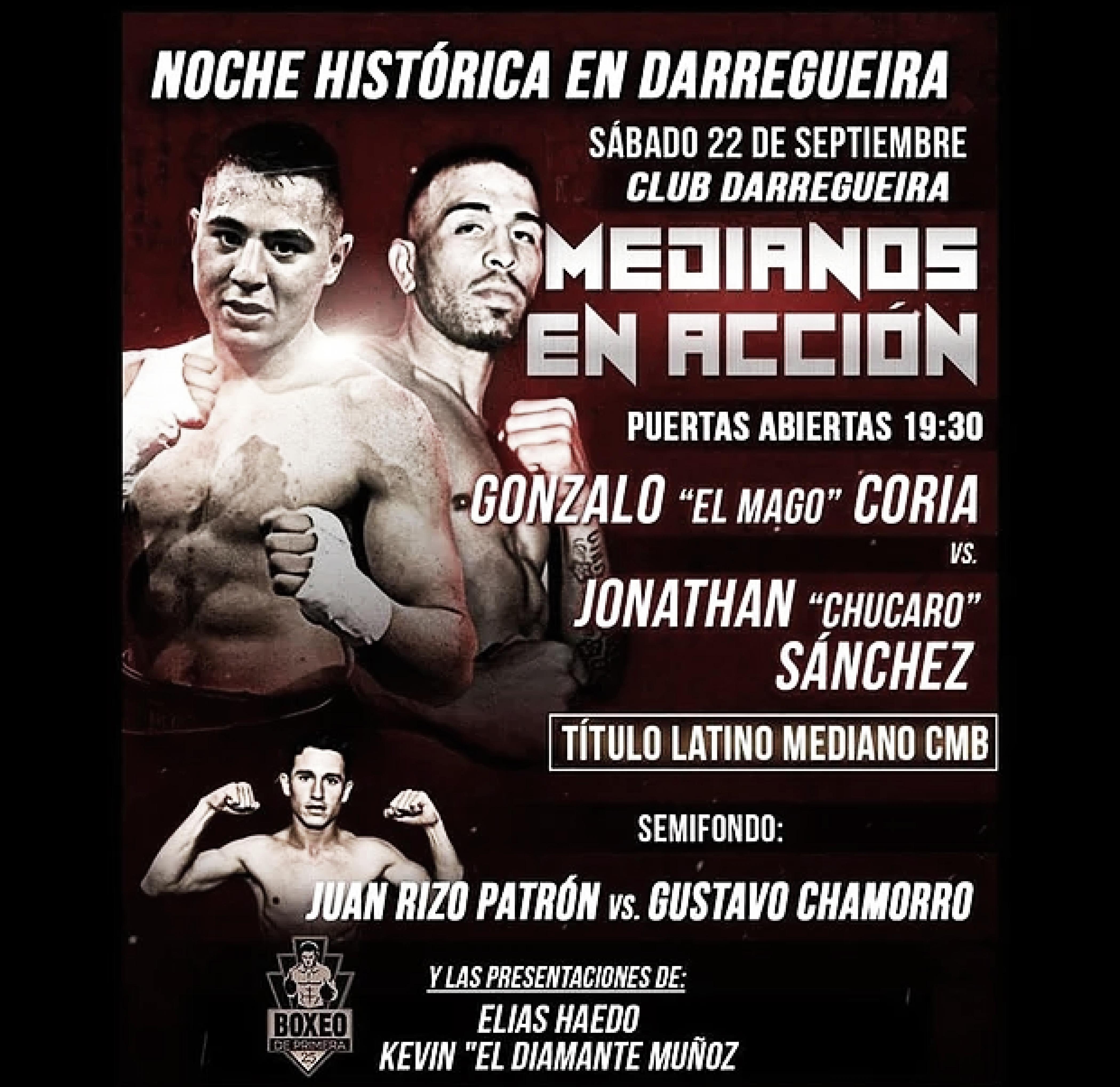 Coria vs Sánchez por el título latino mediano CMB