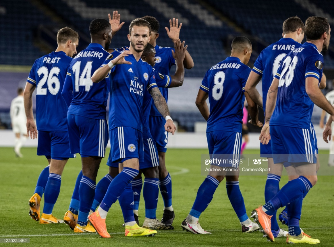 James Maddison celebrates his opener against Zorya Luhansk | Photo: Getty/ Andrew Kearns - CameraSport