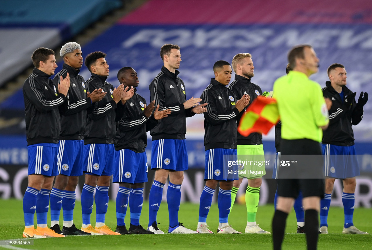 The Leicester City Players and Officials observe a minute of silence prior to kick-off in memory of Diego Maradona during the Premier League match between Leicester City and Fulham at The King Power Stadium on November 30, 2020, in Leicester, England. (Photo by Michael Regan/Getty Images)