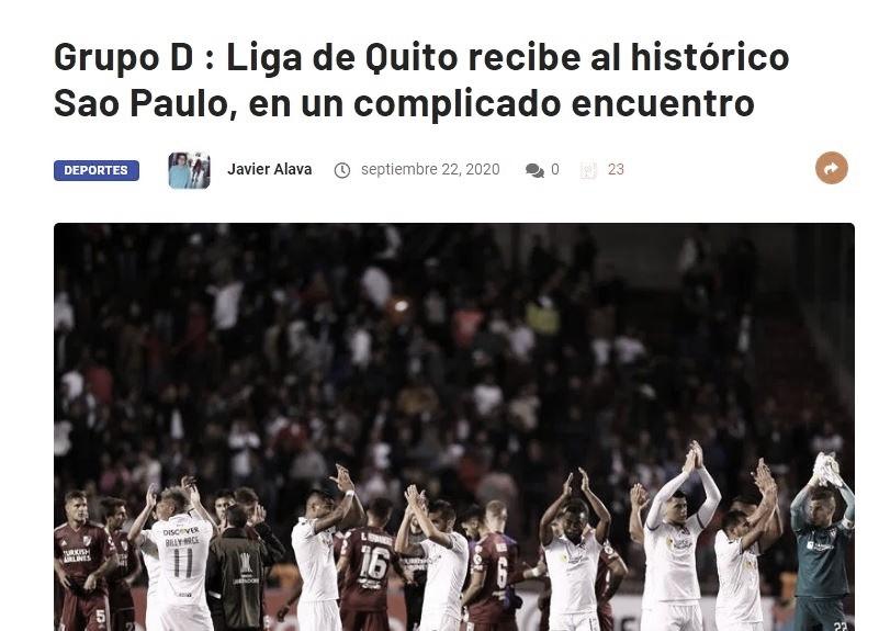 Ausências do São Paulo e dúvida na LDU ganham destaque no Equador em dia de Libertadores