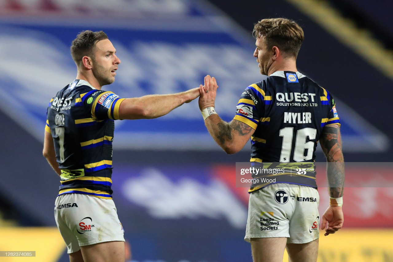 <div>LEEDS, ENGLAND - OCTOBER 26: Luke Gale of Leeds Rhinos interacts with team mate Richie Myler after scoring a try during the Betfred Super League match between Leeds Rhinos and Castleford Tigers at Emerald Headingley Stadium on October 26, 2020 in Leeds, England.Sporting stadiums around the UK remain under strict restrictions due to the Coronavirus Pandemic as Government social distancing laws prohibit fans inside venues resulting in games being played behind closed doors. (Photo by George Wood/Getty Images)</div>