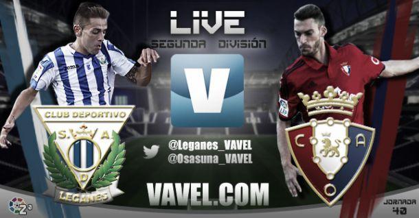 Resultado Leganés - Osasuna en la Liga Adelante 2015 (1-1)