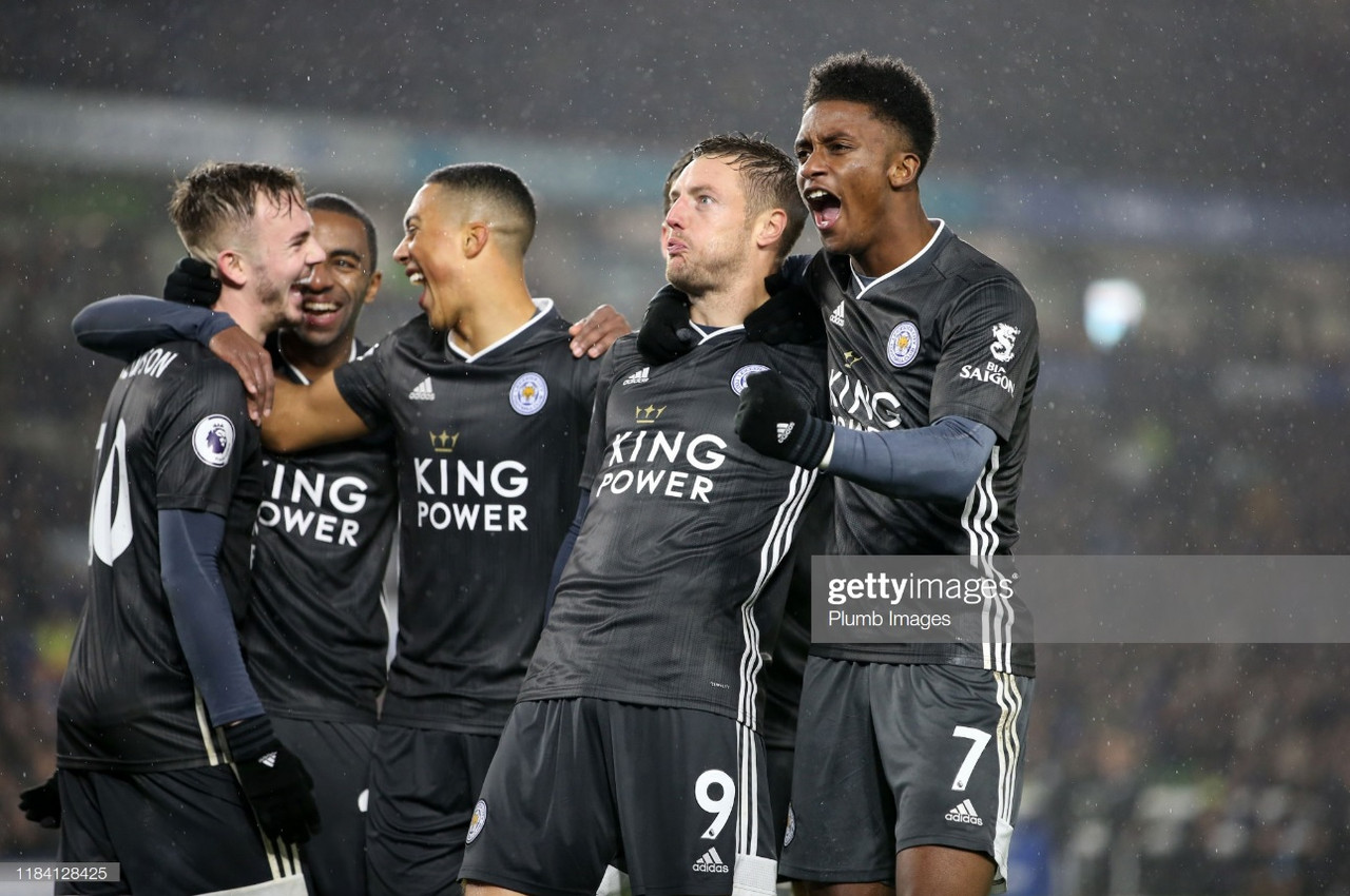 Brighton & Hove Albion 0-2 Leicester City: Foxes consolidate second with goals from Perez and Vardy