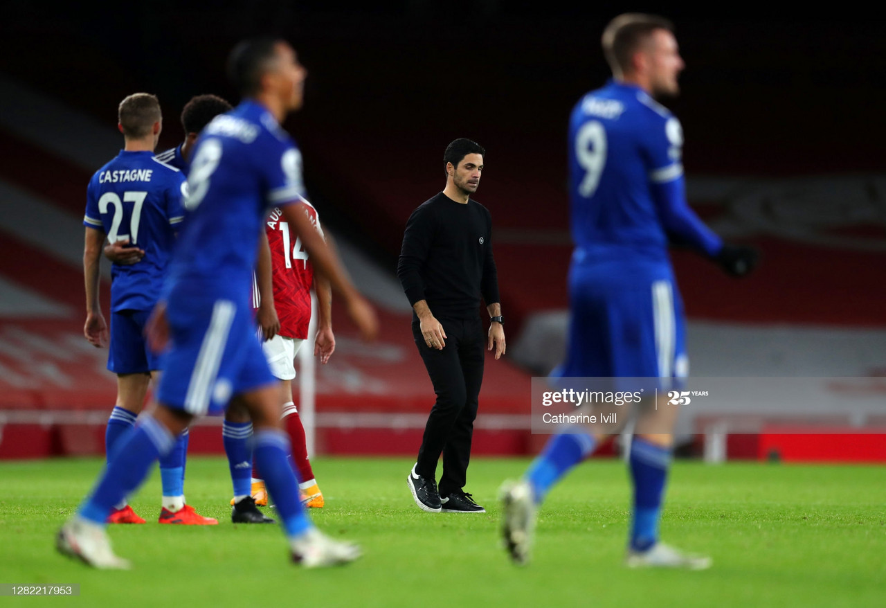LONDON, ENGLAND - OCTOBER 25: Mikel Arteta manager of Arsenal after the Premier League match between Arsenal and Leicester City at Emirates Stadium on October 25, 2020 in London, England. Sporting stadiums around the UK remain under strict restrictions due to the Coronavirus Pandemic as Government social distancing laws prohibit fans inside venues resulting in games being played behind closed doors. (Photo by Catherine Ivill/Getty Images)