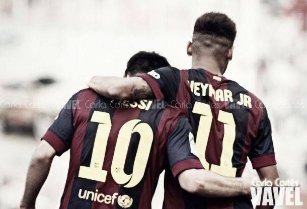 Leo Messi y Neymar jugando con el Barcelona. | Foto: Carla Cortés VAVEL