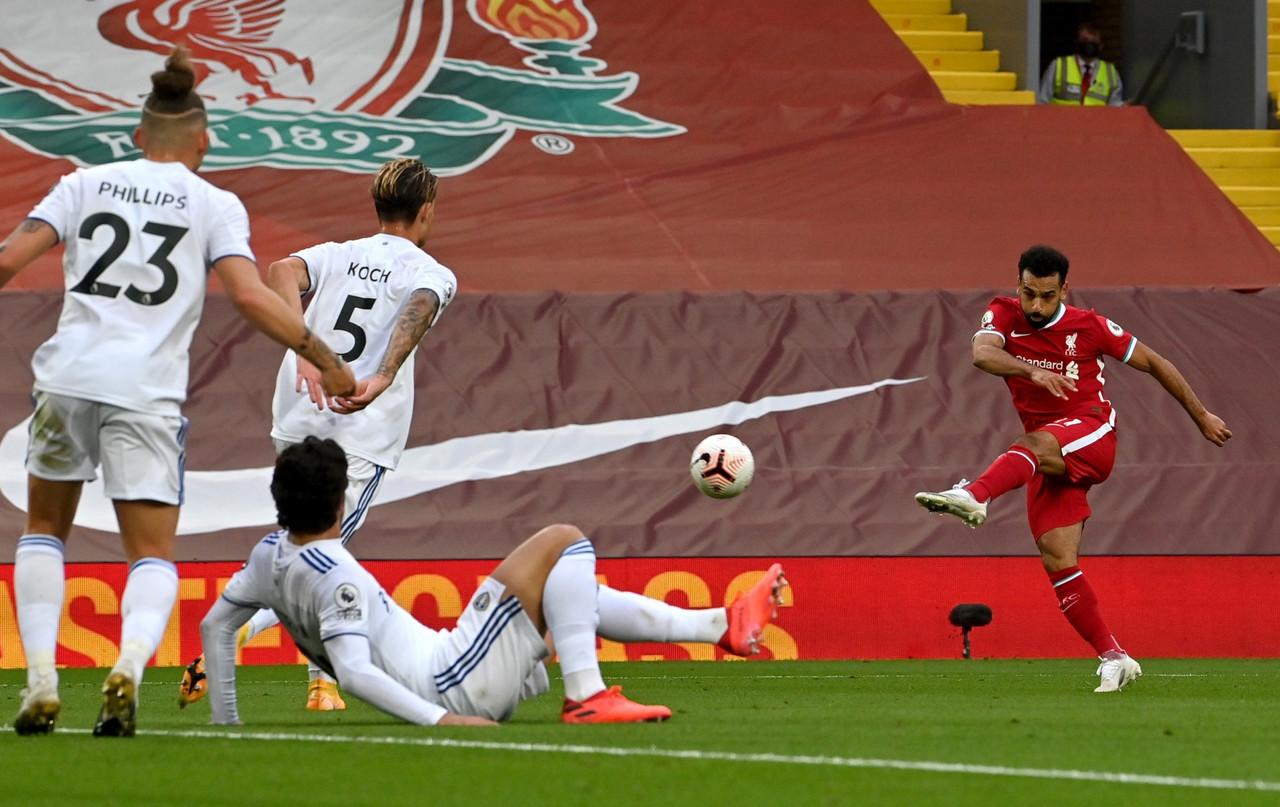 Il gol del momentaneo 3-2 di Salah. | Foto: Twitter @LFC.