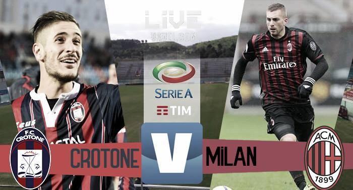 Risultato Crotone 1-1 Milan in Serie A 2016/17: finisce in pareggio