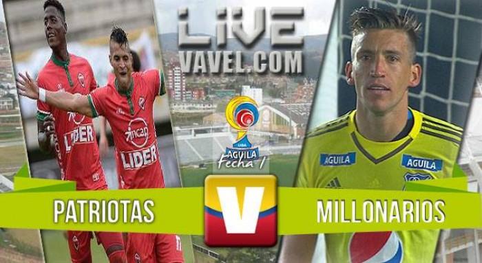 Resultado Patriotas vs Millonarios en Liga Águila 2016 (1-0)