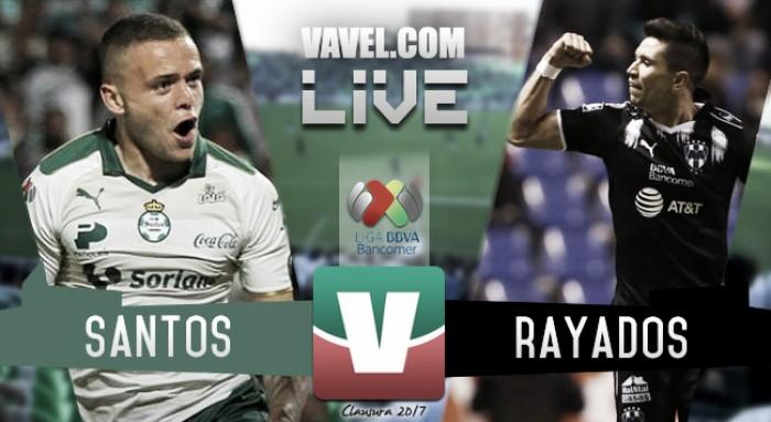 Resultado y goles de Santos (2-2) Rayados Monterrey en Liga MX Clausura 2017