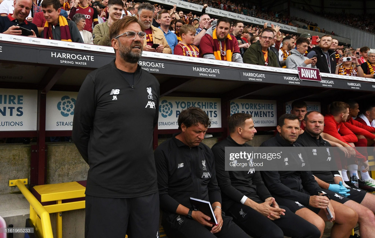 Jurgen Klopp notes Liverpool's lack of rhythm against Bradford