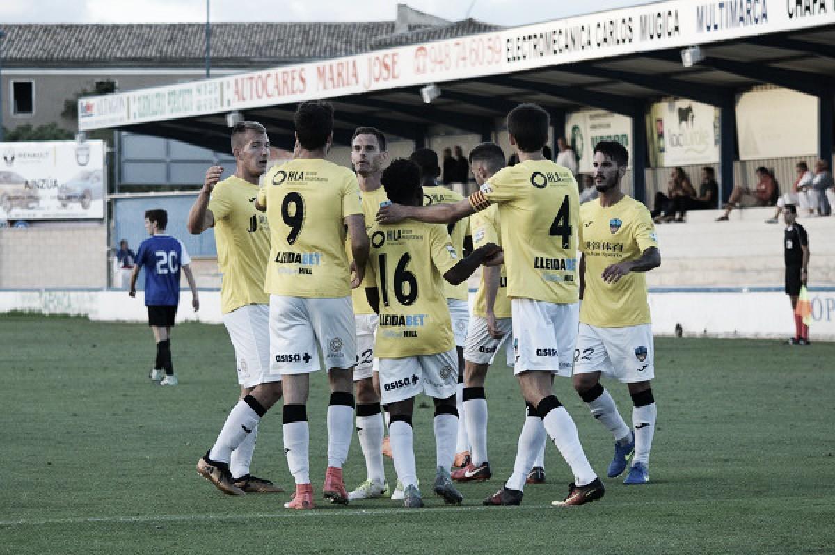 Los futbolistas del Lleida celebrando un gol | Foto: Lleida Esportiu